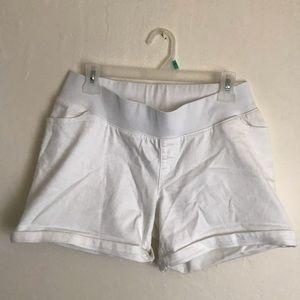 White Liz Lange maternity shorts stretch bellyband